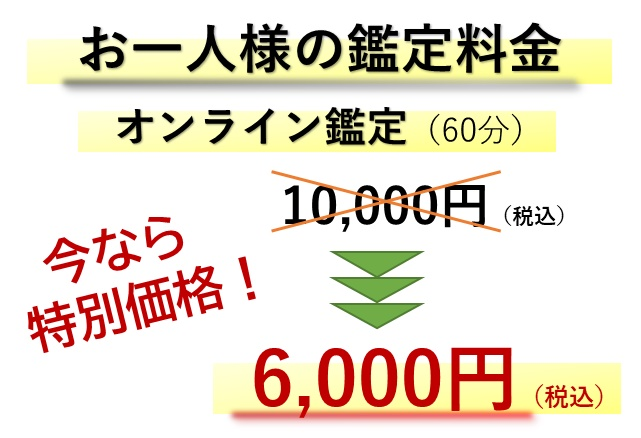 和叶真知のオンライン鑑定料金(特別価格)